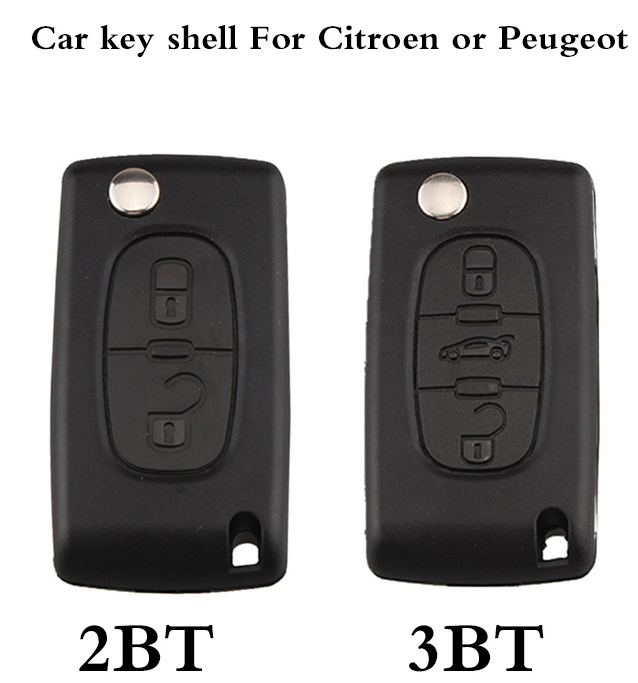 BR KEY 2 3 Buttons Car Remote Key shell Case For Citroen or Peugeot CE0536 Model HU83/VA2 optional NO logo