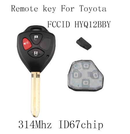 BR KEY  3Buttons 4D67 chip Complete Remote Key For Toyota Rav4 2006 2007 2008 2009 2010 Original keys For Toyota HYQ12BBY