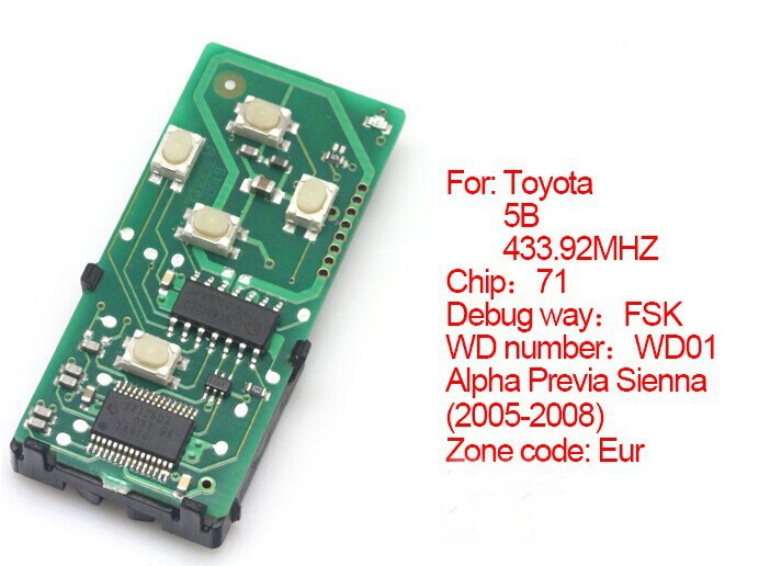 BR KEY 2005-2008 Smart Remote Board 433.92MHz For Toyota Alpha Previa Sienna WD01(271451-6221-Eur)