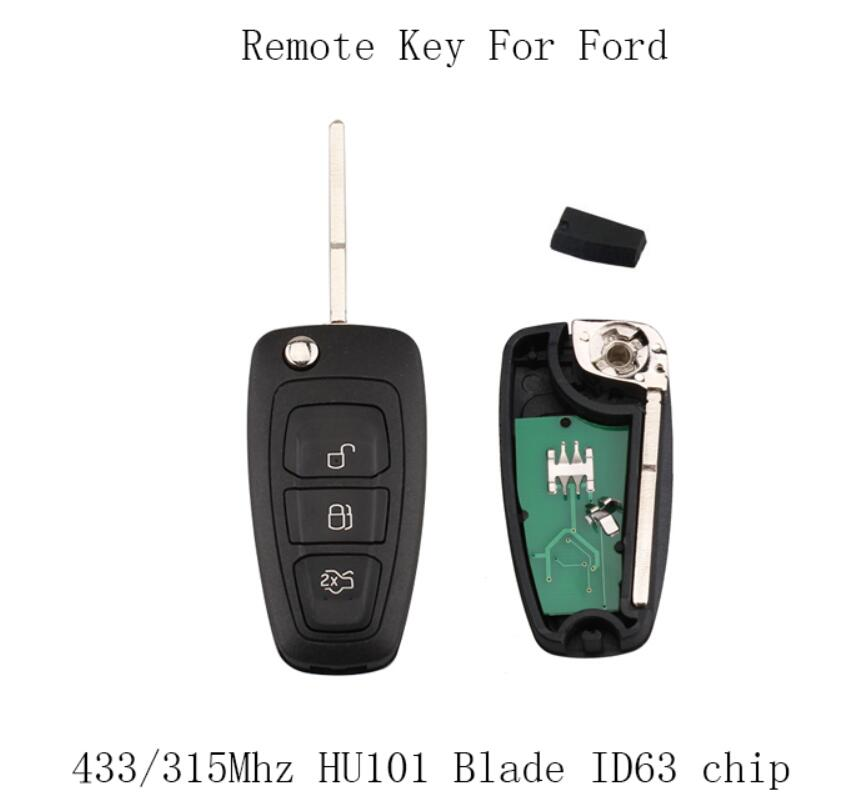 3Buttons 433/315Mhz Folding Complete Remote Key Fob For Ford Focus Fiesta ASK Signal Car key +ID63 chip