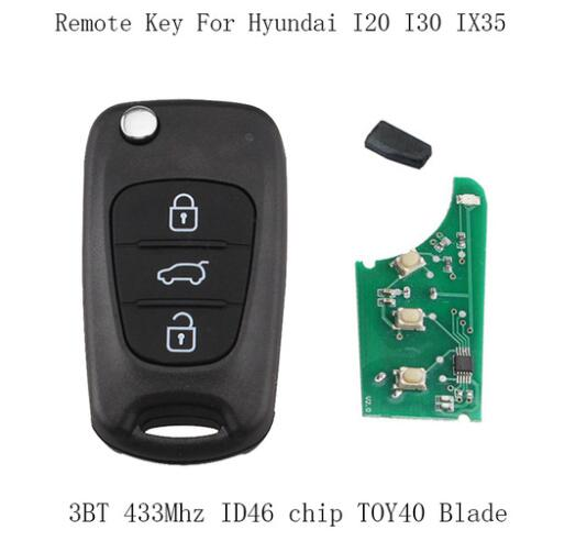 BR KEY 433Mhz Flip Complete Remote Key Fob DIY For Hyundai IX30 I20 I30 2008 2009 2010 2011 2012 keys ID46 chip&TOY40 Balde