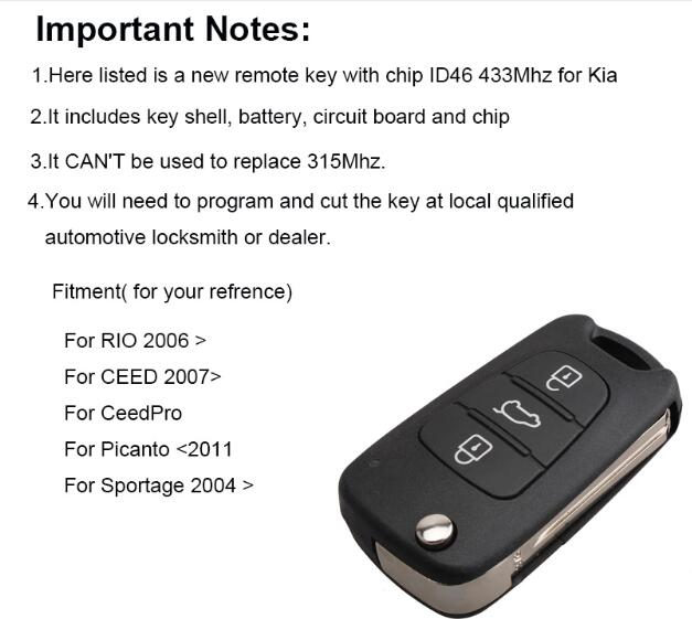 BR KEY 433Mhz Flip Car Remote key For Kia Rio Ceed Cee'd CeedPro Picanto 2004 2005 2006 2007 2008 2009 2010 2011 ID46 chip