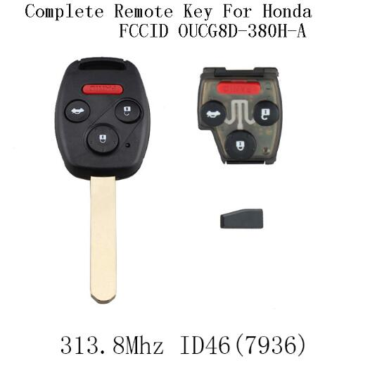 BR KEY 4Buttons 313.8Mhz Car Remote Keyless Key Fob For Honda Accord 2003 2004 2005 2006 2007 ID46 chip Complete Remote Key