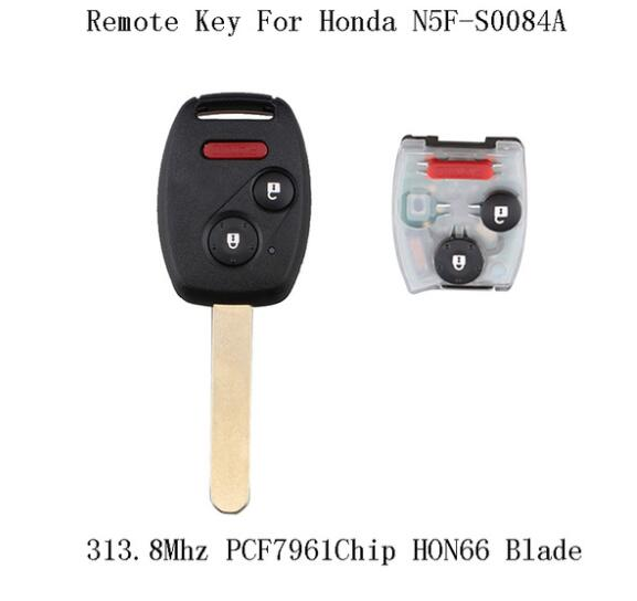 BR KEY 313.8Mhz Complete Remote Key DIY For Honda Civic EX Si 2006 2007 2008 2009 2010 2011 For Honda N5F-S0084A PCF7961 chip