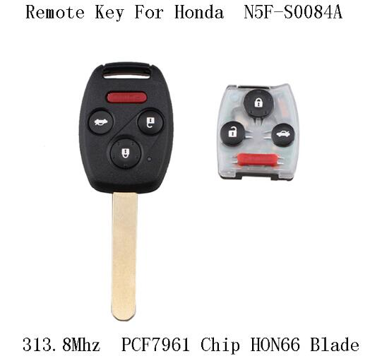 BR KEY 4Buttons 313.8Mhz PCF7961 chip Complete Remote Key For Honda Civic Ex 2006-2011 Remote Car Key Fob N5F-S0084A