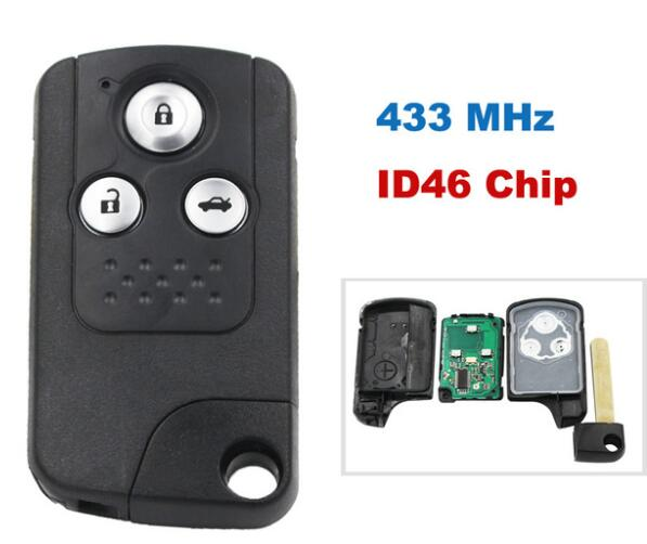 BR KEY 3 Button Intelligent Smart Remote Key Keyless Entry Fob 433MHZ With ID46 Chip For Honda New Civic