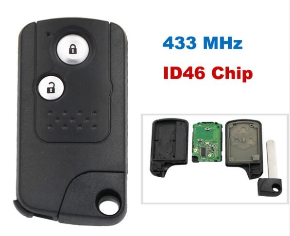 BR KEY 2 Button Intelligent Smart Remote Key Keyless Entry Fob 433MHZ With ID46 Chip For Honda CRV