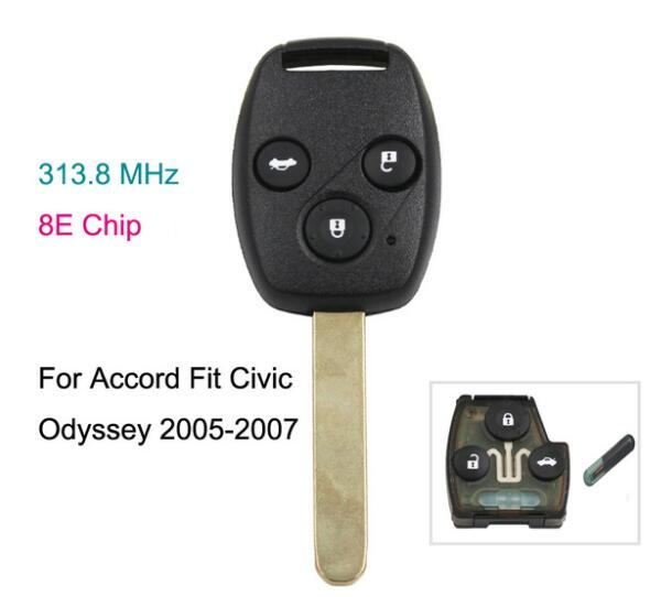 BR KEY 3 Button Car Remote Key 313.8MHZ With 8E Chip For Honda Accord Fit Civic Odyssey 2005-2007