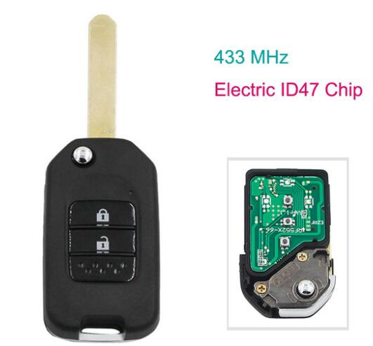 BR KEY 2 Buttons 433MHz Upgraded Remote Key for Honda FIT XRV CITY GREIZ with ID47 Electronic Chip