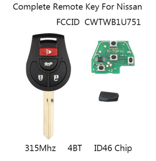 BR KEY 315Mhz Replacement For Nissan Rogue 2008-2016 For Nissan Versa 2012 2013 2014 2015 Remote Key Fob Uncut ID46 chip