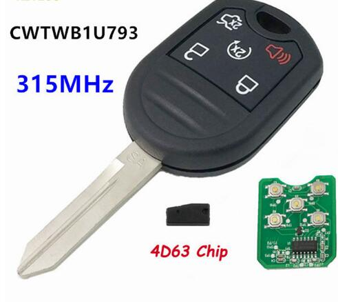 BR KEY Replacement Remote Key Control Transmitter 5 Button 315MHz With 4D63 Chip for Ford Mustang Exploror Edge CWTWB1U793