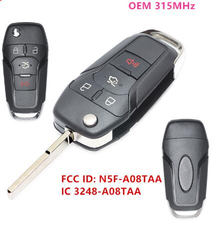 BR KEY  OEM Smart Remote Flip Key Keyless Entry Fob 4Buttons 315MHz For Ford Fusion 2013-2015 FCC ID: N5F-A08TAA IC:3248-A08TAA