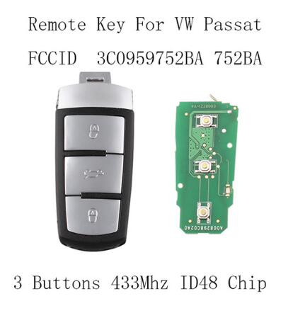 BR KEY 3Buttons Complete Remote Key DIY 433MHZ For VW VOLKSWAGEN PASSAT CC MAGOTAN 3C0959752BA For VW 3C0 959 752 BA