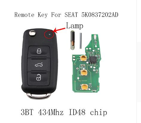 BR KEY 3Buttons 434Mhz ID48 Complete Remote Key For Seat Cordoba Ibiza Leon Toledo 2002-2010 5K0837202AD 202AD Car key