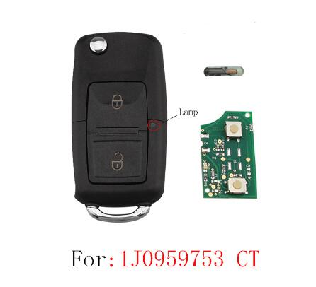 BR KEY 2Buttons Remote key For 1J0959753CT Arosa Cordoba Ibiza Leon Toledo Vario 2000 2001 2002 2003 2004 2005 2006 2007 2008