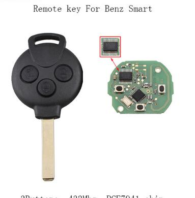 BR KEY 433Mhz Complete Remote Key For Mercedes-Benz Smart Fortwo 451 2007 2008 2009 2010 2011 2012 2013 433Mhz PCF7941 chip