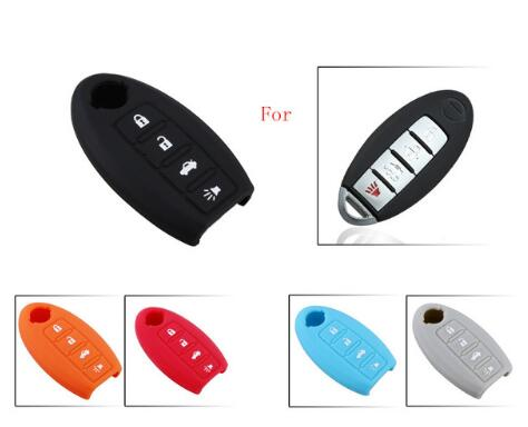 BR KEY Silicone Key Case for Nissan Altima Maxima Sentra Teana 2007-2012 Smart Remote 4 Buttons Fob Skin Cover Holder