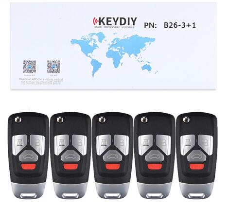 BR KEY 5PCS/Lot Universal Remote 3+1 Button B-Series for KD900 KD900+ URG200, KEYDIY Remote for B26-3+1