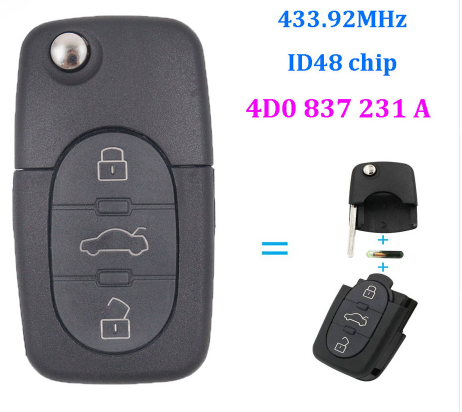 BR KEY 3 Button Folding Remote Key FOB 433.92Mhz With ID48 Chip For Audi A3, A4, A6, A8, RS4, TT FCC: 4D0 837 231 A