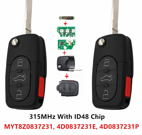 BR KEY Pair Replacement New Remote Car Keyless Key Fob 315MHz With ID48 Chip for Audi A4 A6 A8 Allroad Quattro 4D0 837 231 E/P