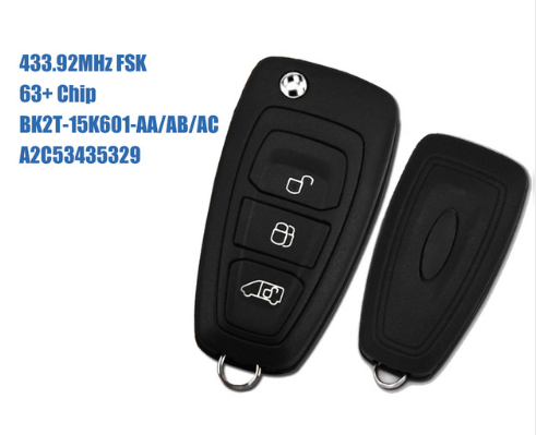 3btn Remote Flip Key fob 433MHz For Ford Transit Custom 2012 2013 2014 2015 2016 No Blade with 63 chip BK2T-15K601-AA/AB/AC