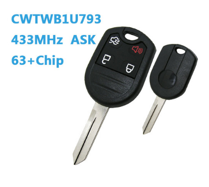 4btn remote Car Key fob 433MHZ For Ford with 4D63 Chip CWTWB1U793