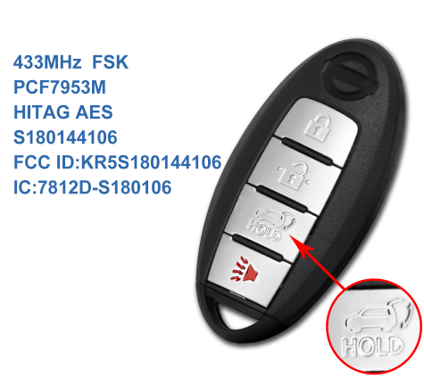 4 buttons smart card key 433MHz for Nissan Rogue US X-Trail South Asia 2014 2015 2016 with PCF7953 HITAG AES chip KR5S180144106