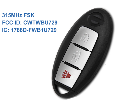 3 buttons smart card key for Nissan 315MHz chip 370Z Cube Juke Pathfinder Rogue Versa 2008 2009 2010 2011 2012 CWTWBU729