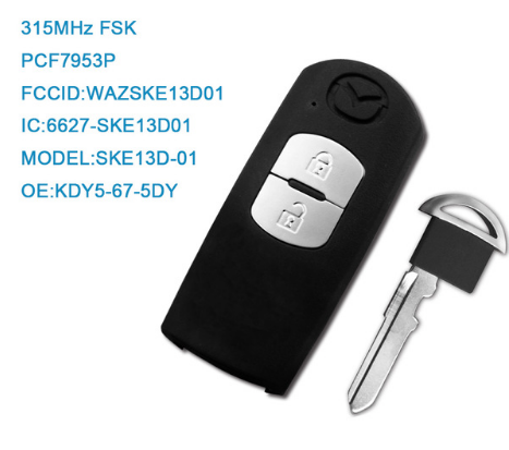 2 Button Smart Remote Car Key 315Mhz For Mazda Axela Demio CX-3 CX-5 2012 2013 2015 with PCF7953P Chip WAZSKE13D01