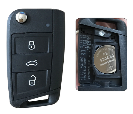 3 buttons remote Original Made car key 433mhz for Volkswagen Golf Lingdu;with 48 chips and 5G0959752BA